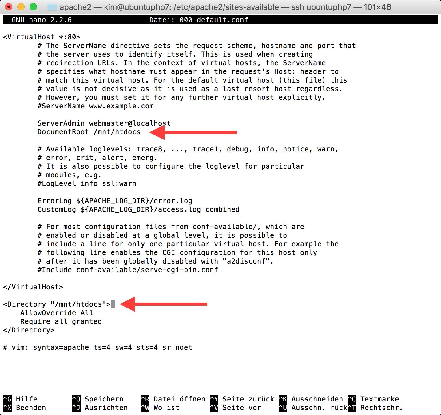 VirtualHost-Konfiguration zeigt auf gemeinsen Ordner
