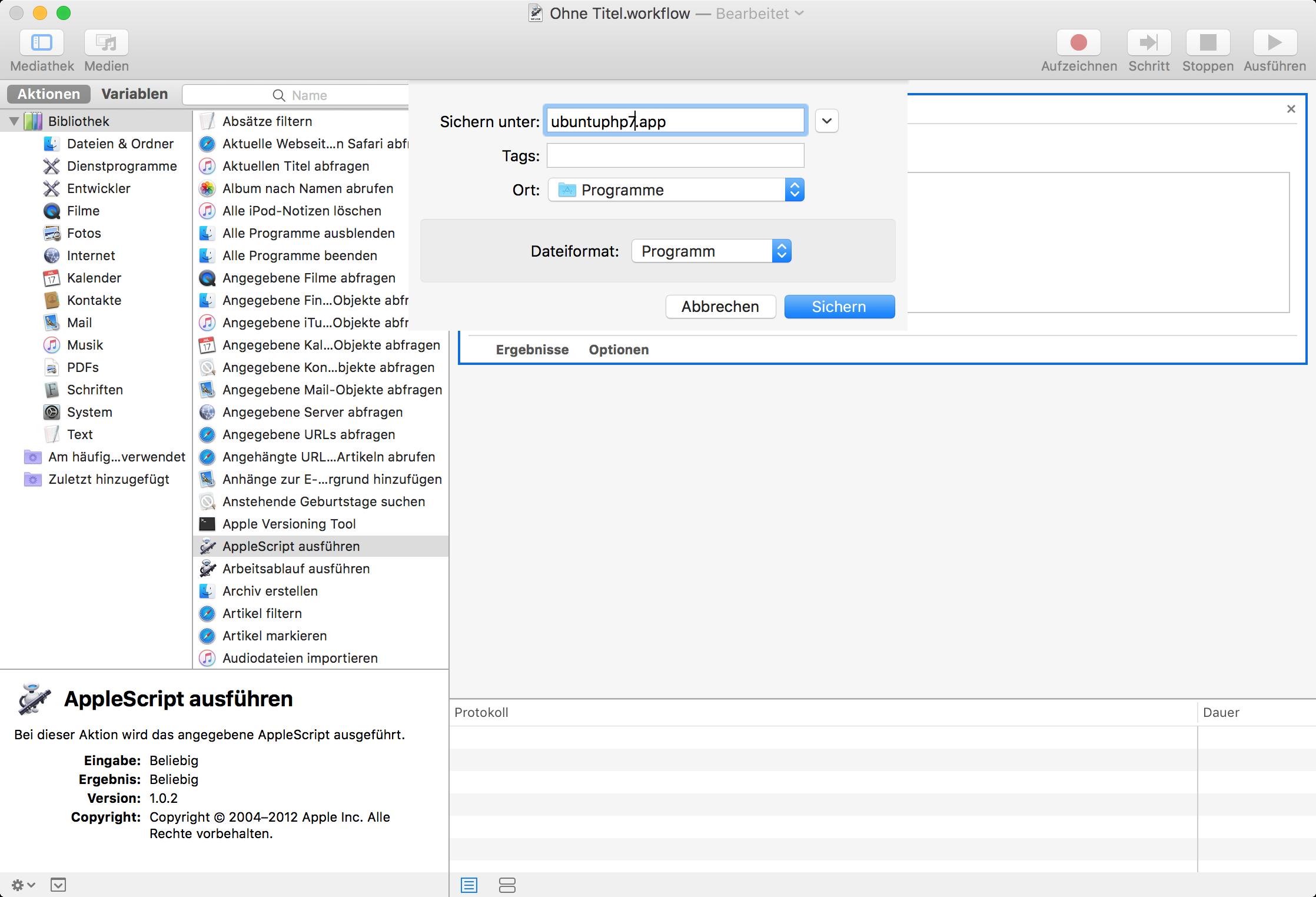 AppleScript als App abspeichern