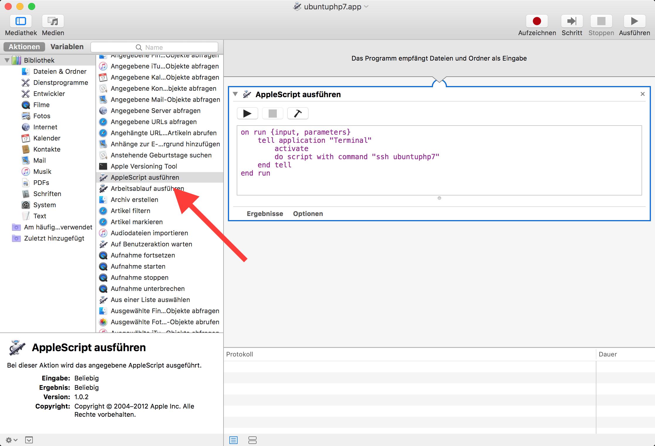 AppleScript mit dem Automator erzeugen