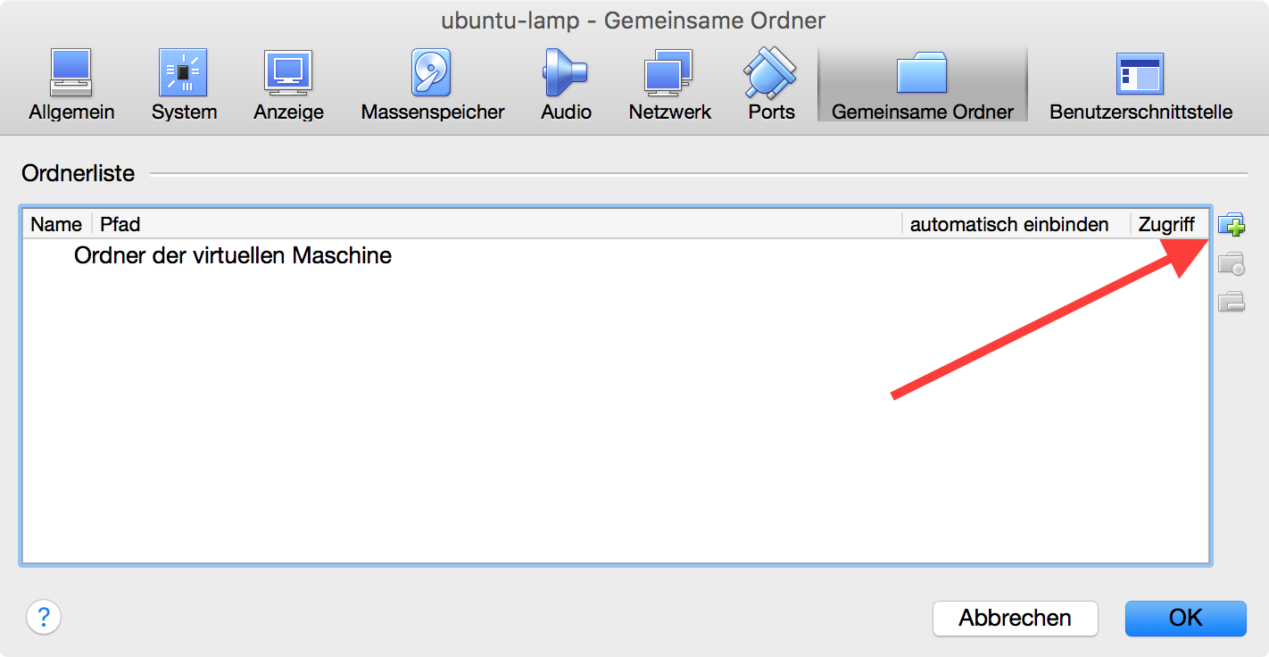 Gemeinsame Ordner in VirtualBox