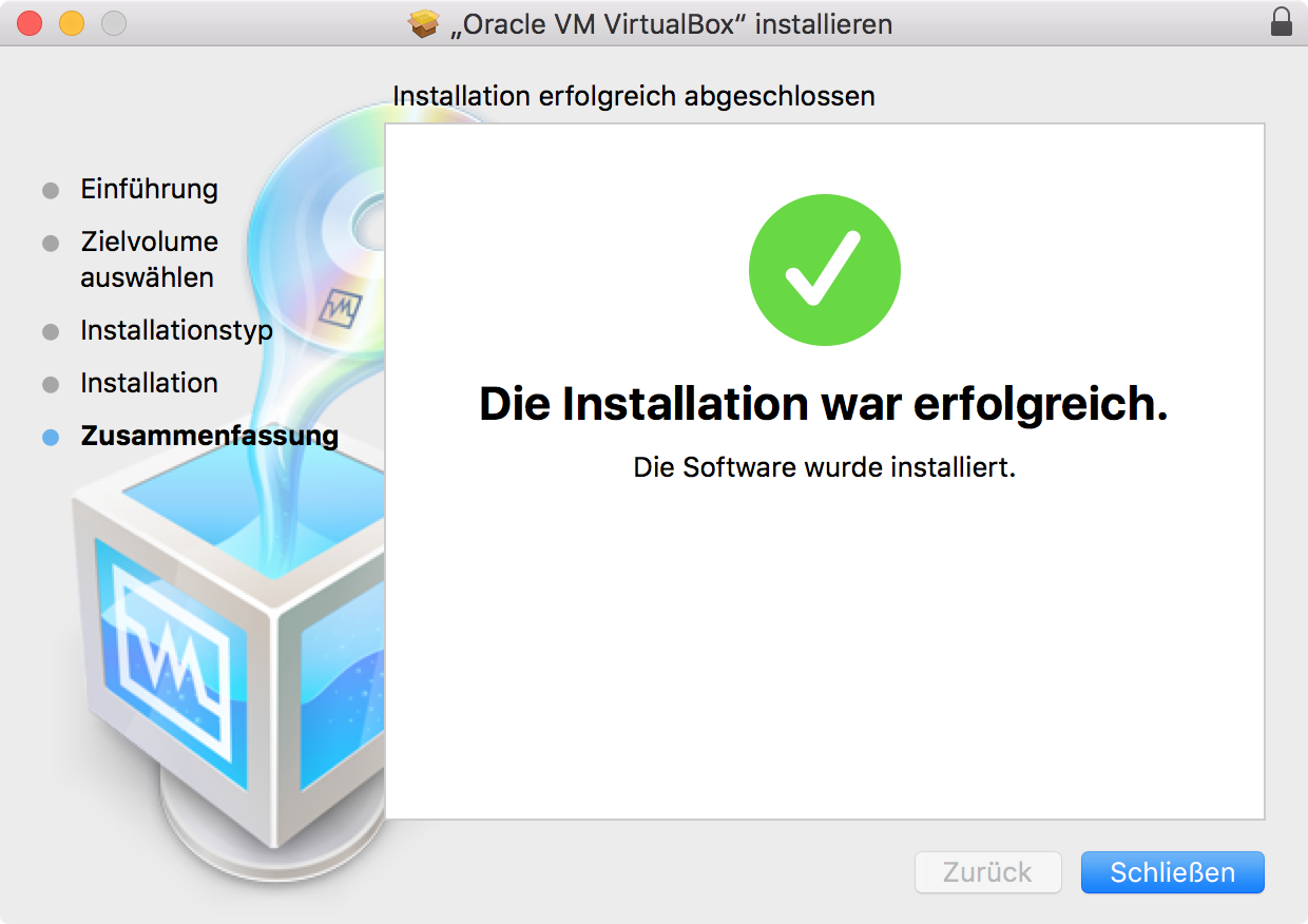 VirtualBox Installation komplett