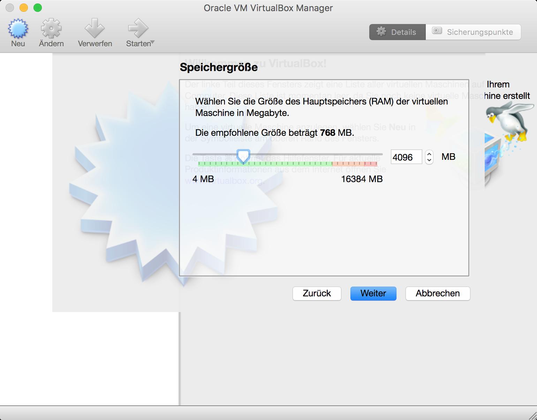 VirtualBox Ubuntu RAM-Zuordnung