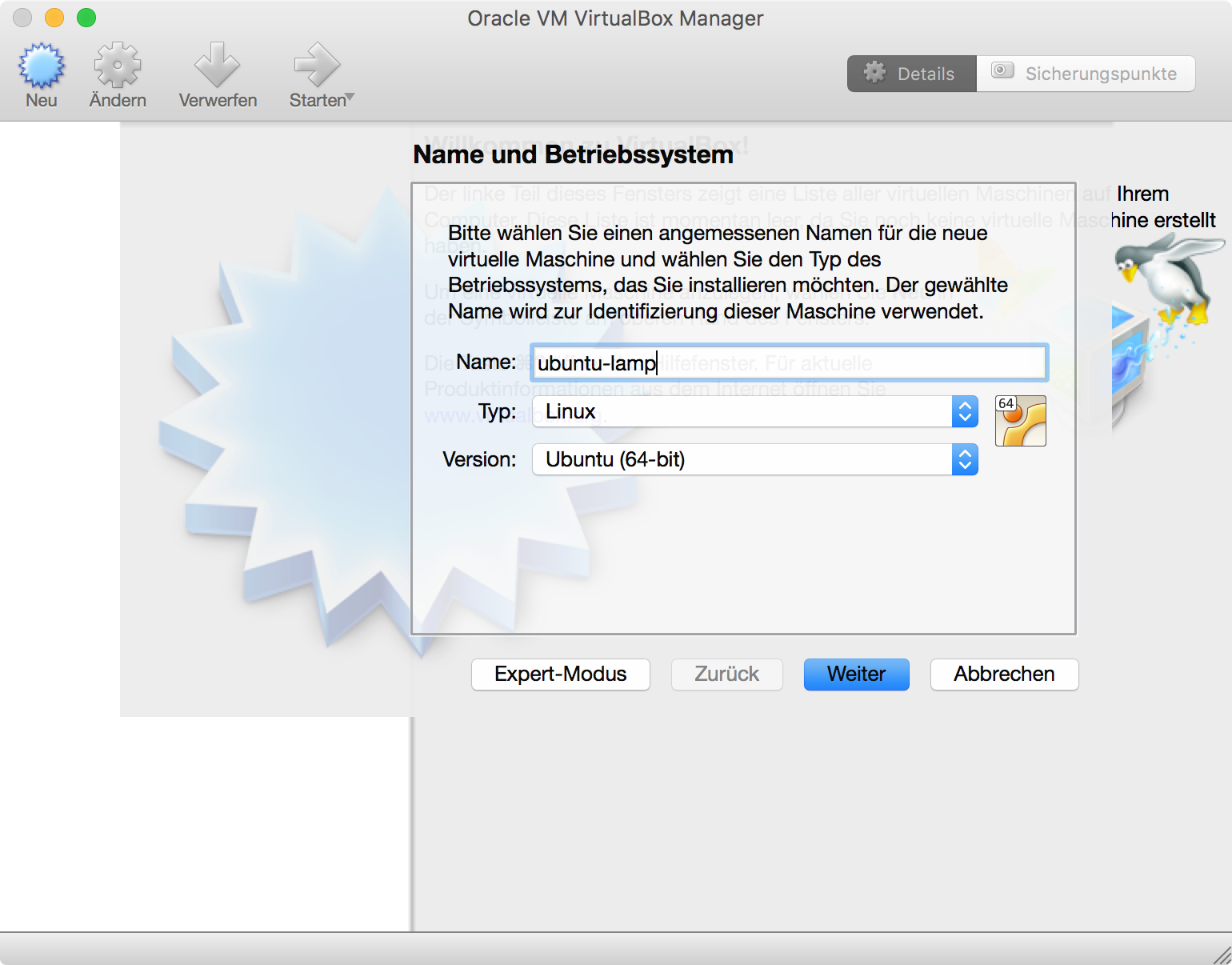 Neue VirtualBox VM anlegen