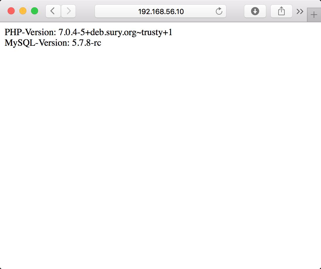 PHP 7- und MySQL-Installations-Testergebnis im Browser