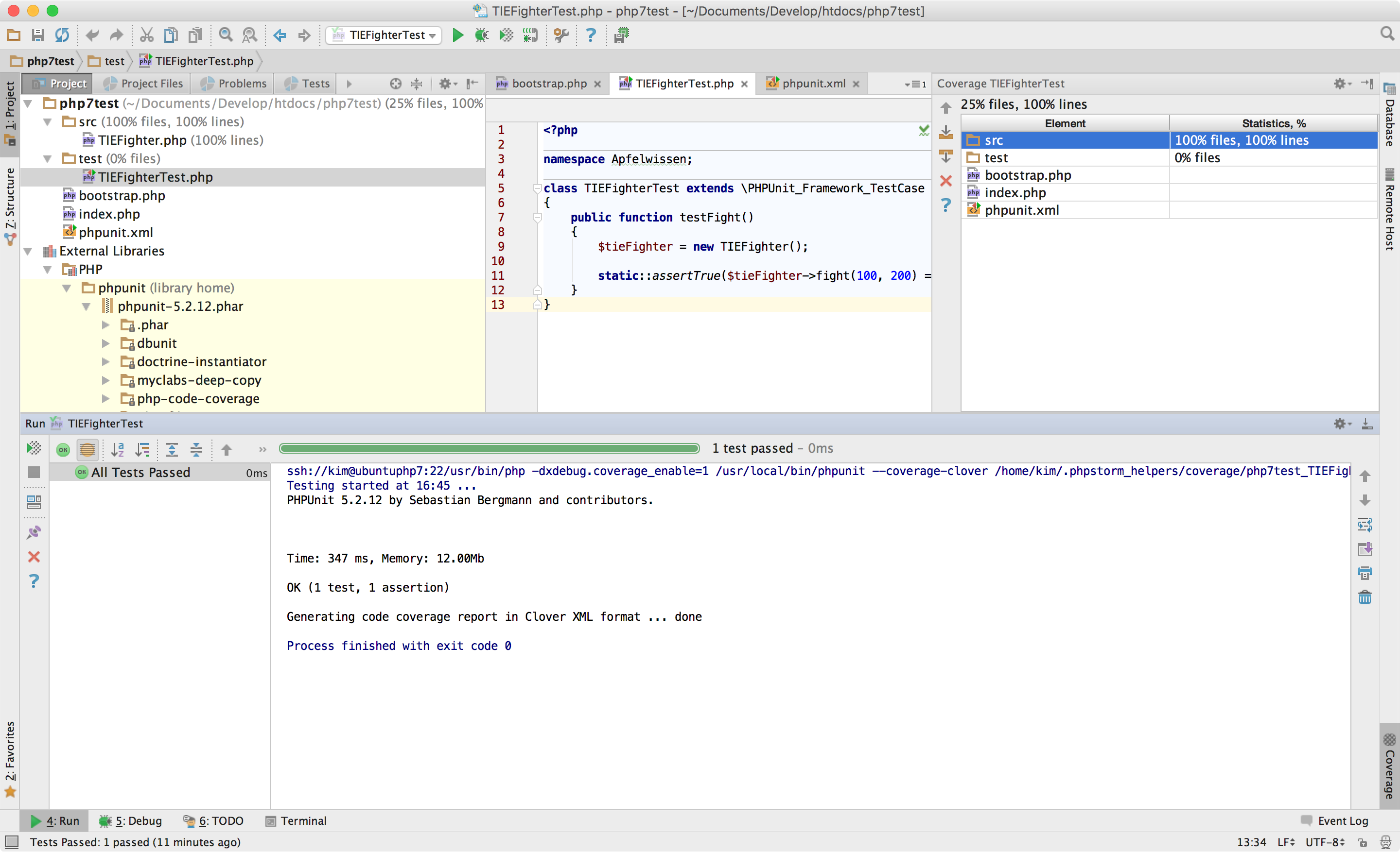PhpStorm mit PHPUnit Code Coverage