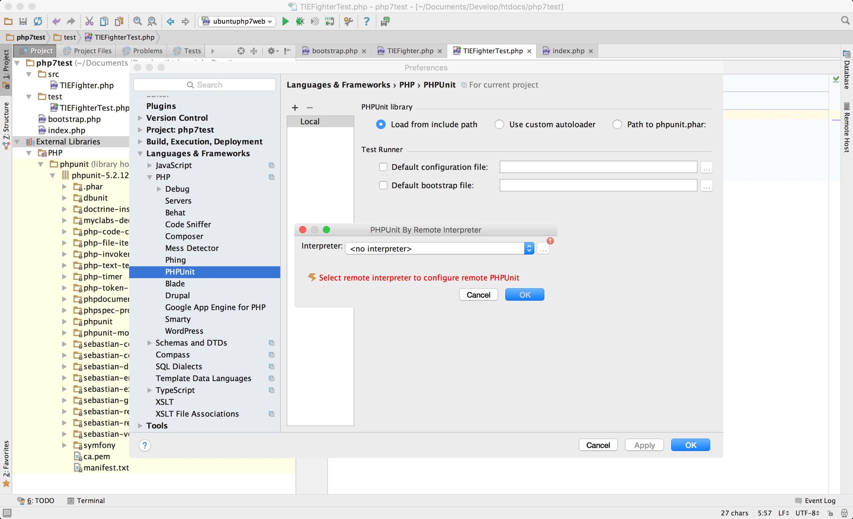 PhpStorm - PHPUnit - leere Auswahl an Remote Interpretern