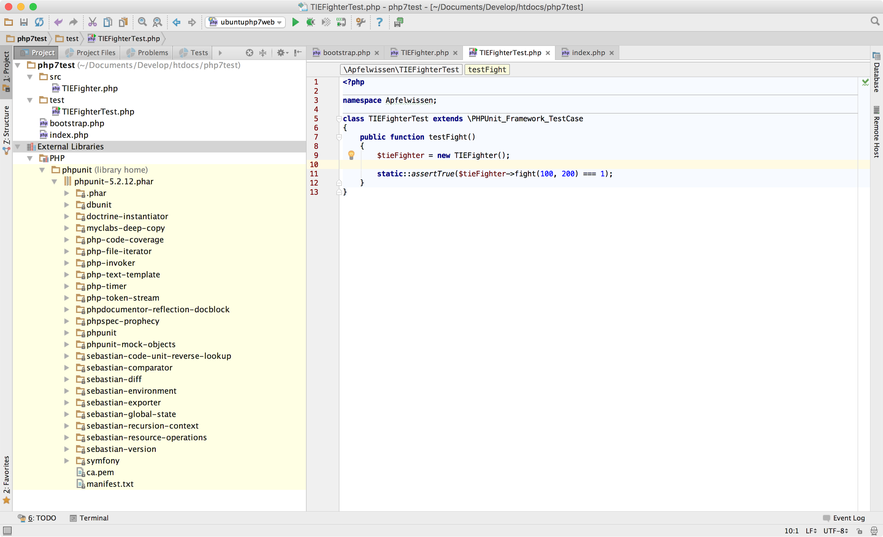 PHPUnit als External Library in PhpStorm