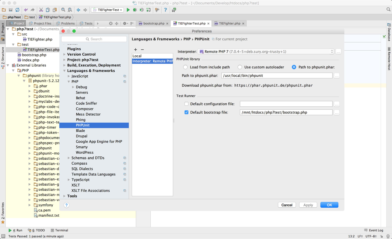 Die fertigen PHPUnit Remote Interpreter-Einstellungen
