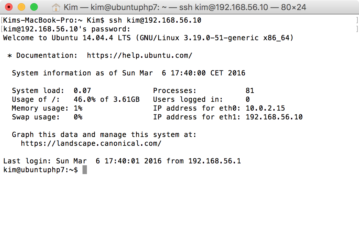 SSH-Zugang per Terminal auf Ubuntu VM