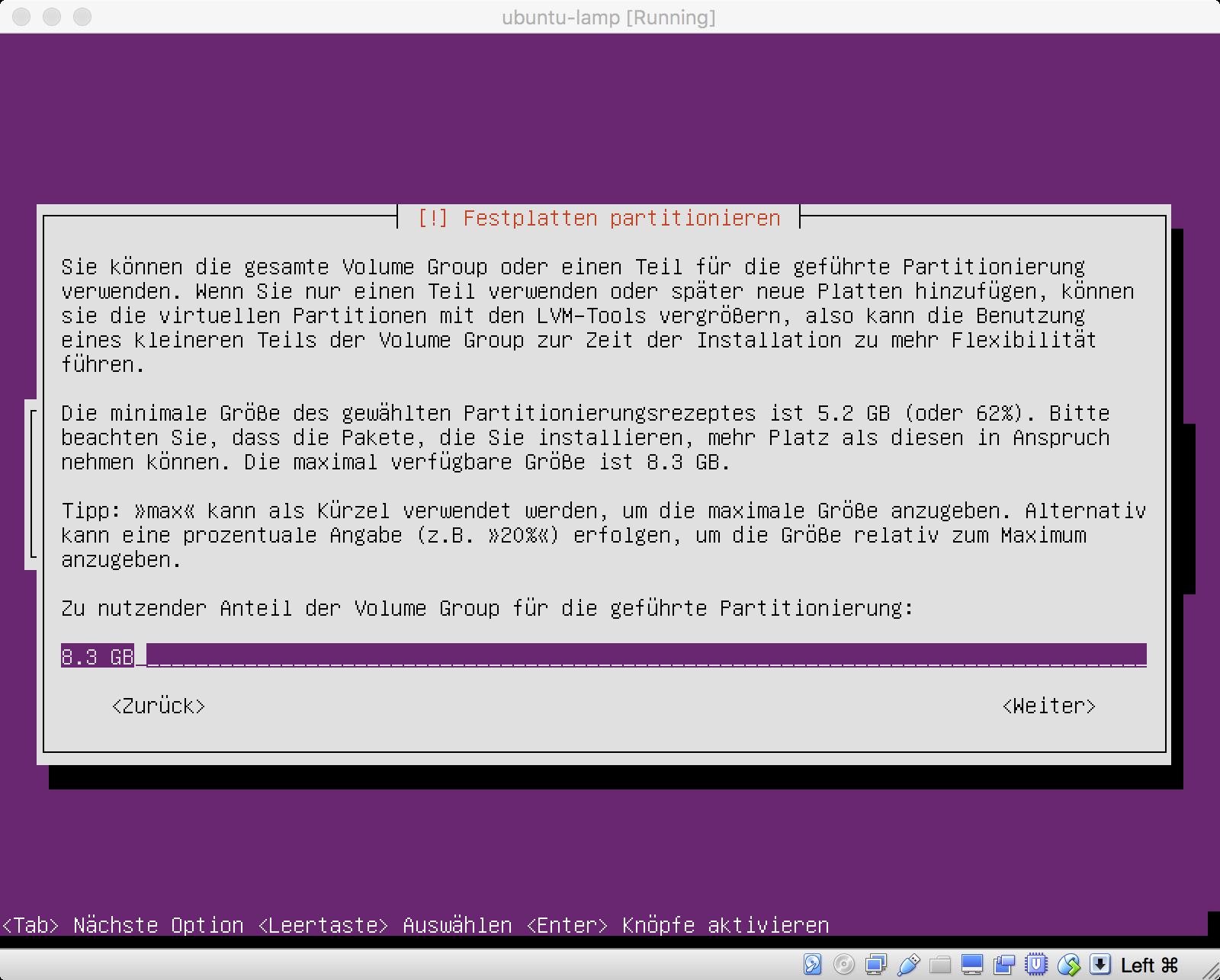 Ubuntu Installation - Größe unseres Volumes auswählen