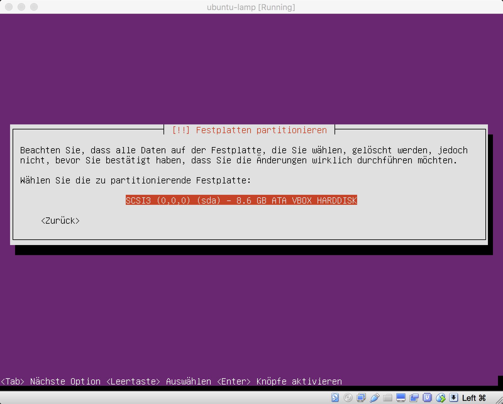 Ubuntu Installation - Festplatte für Partitionierung