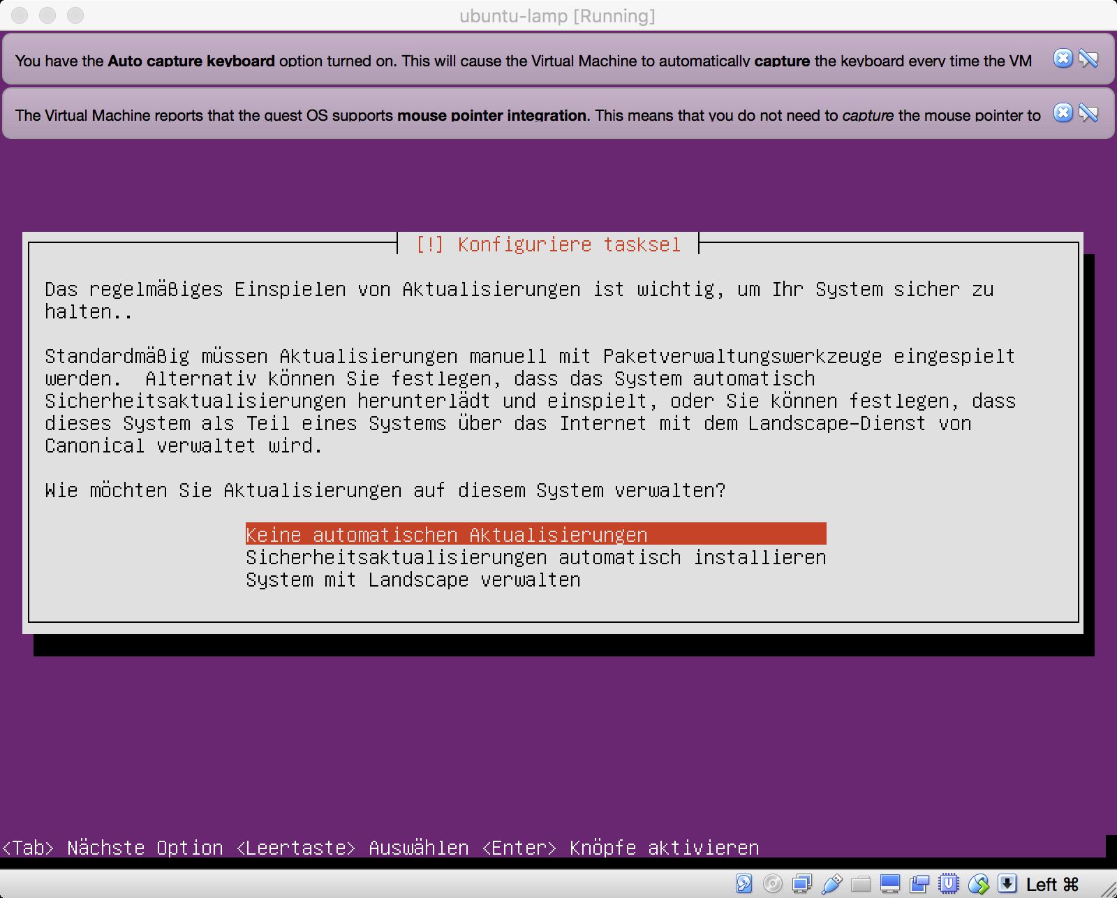 Ubuntu Installation - Automatische Updates