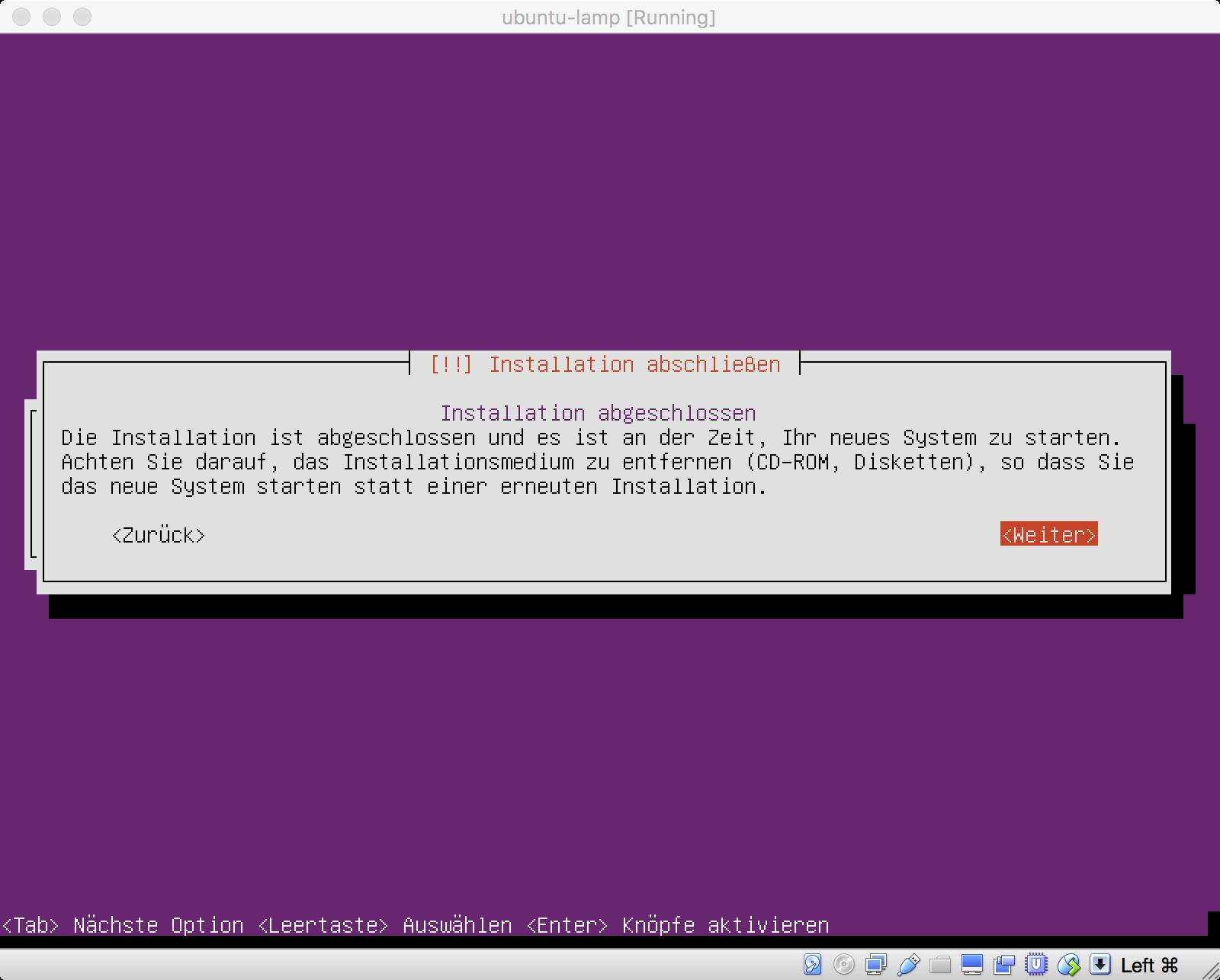 Ubuntu Installation abgeschlossen