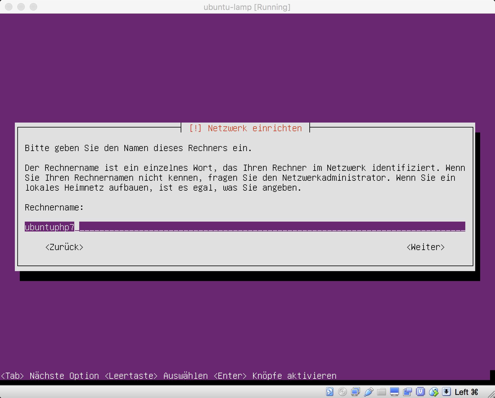 Ubuntu Installation - Netzwerknamen festlegen