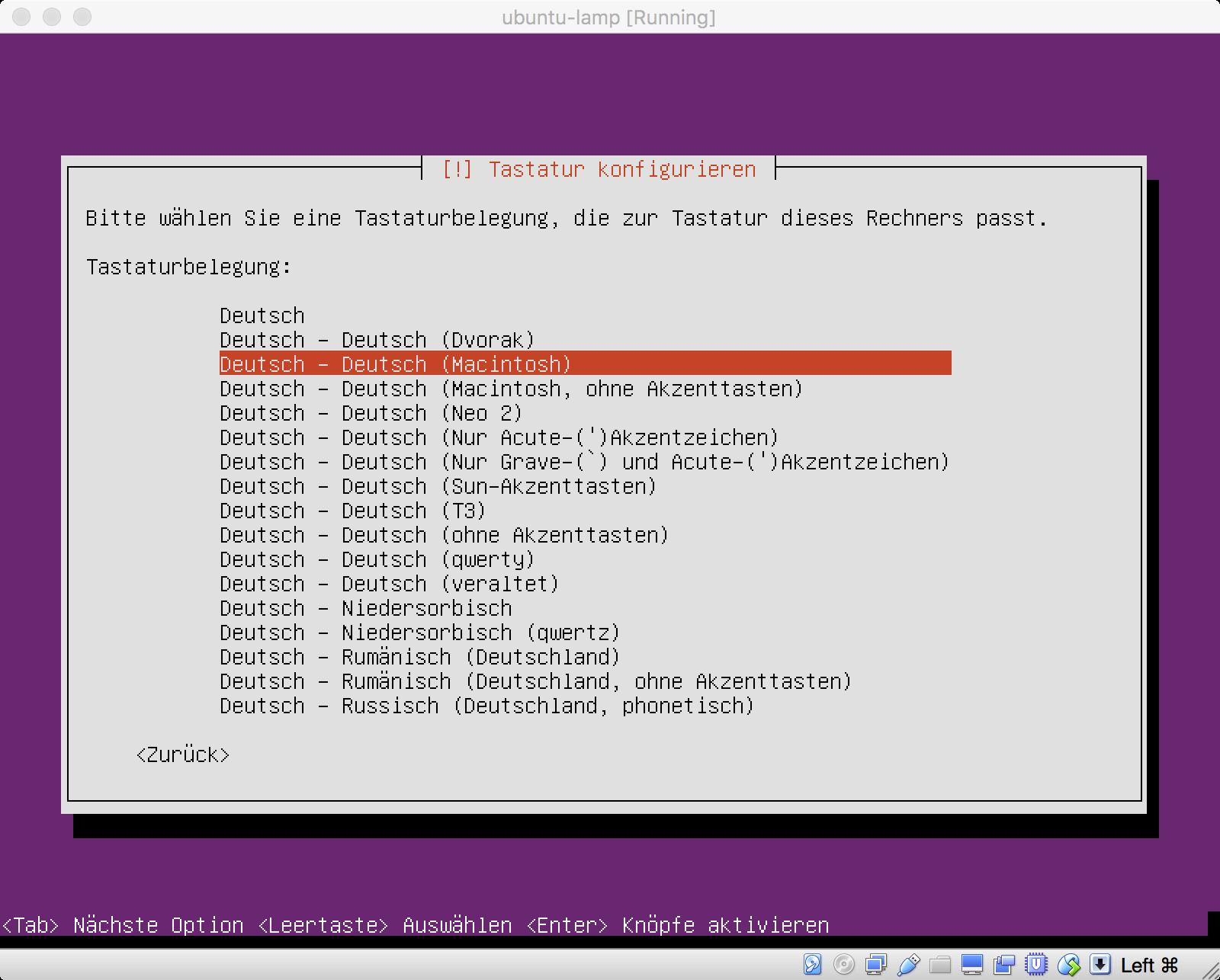 Ubuntu Installation - Tastatur-Belegung für den Mac