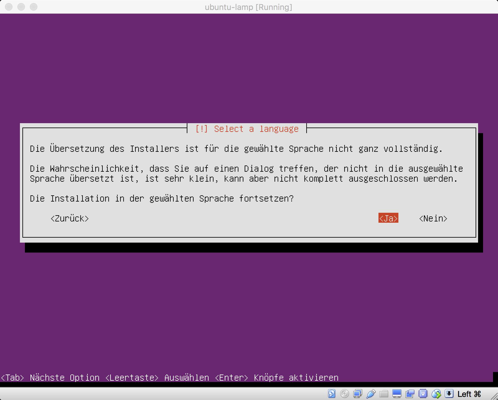 Die Sprachpakete für den Ubuntu Installer sind für die deutsche Sprache nicht vollständig.