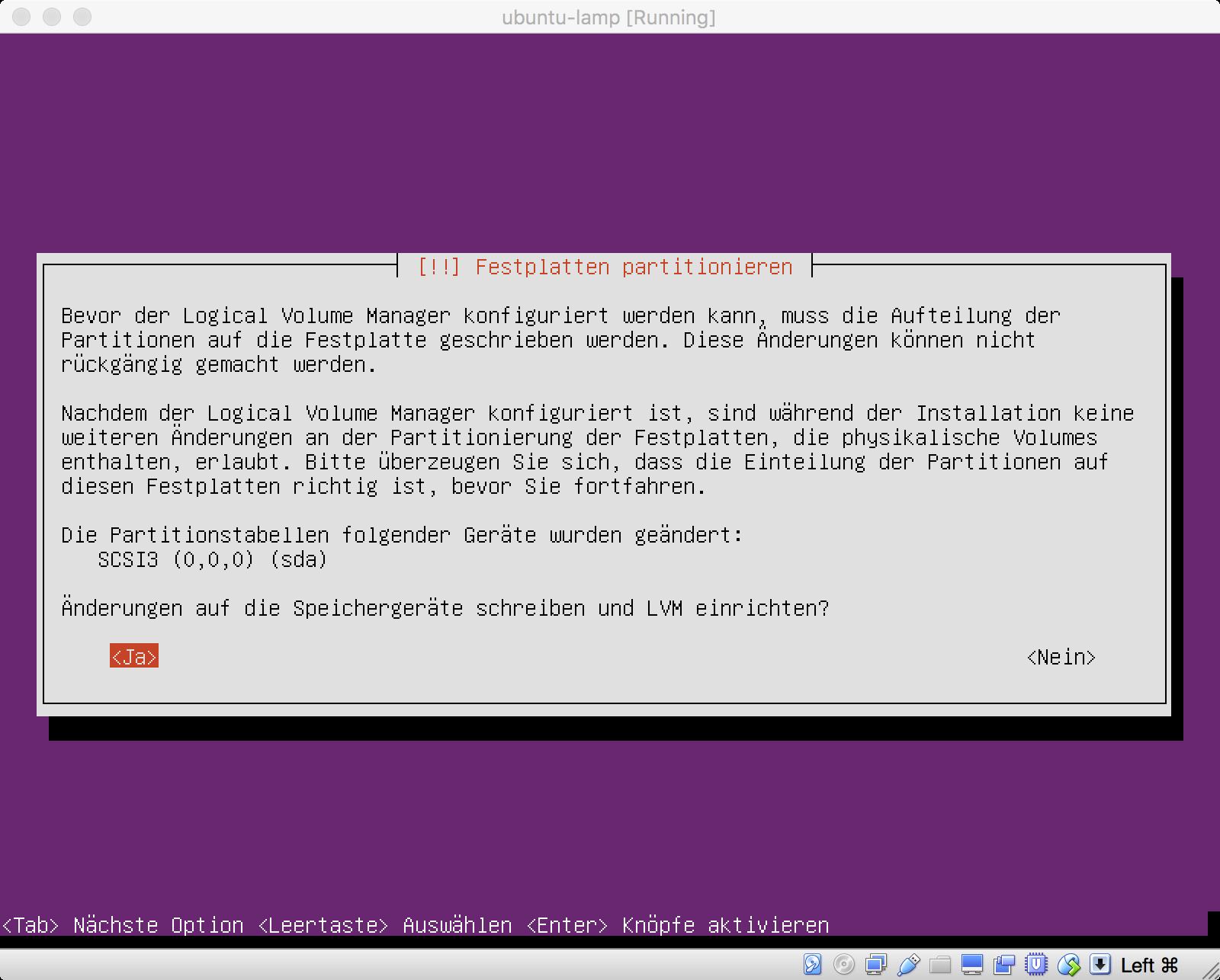 Ubuntu Installation - Partitionierung bestätigen