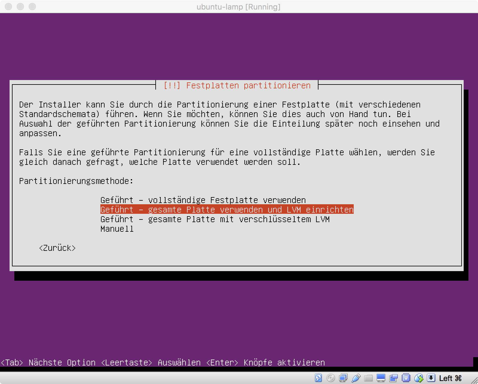 Ubuntu Installation - Partitionierung