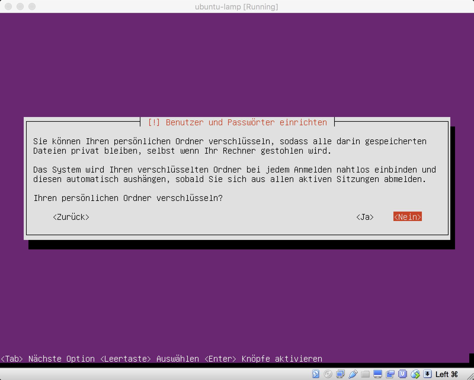 Ubuntu Installation - Verschlüsselung