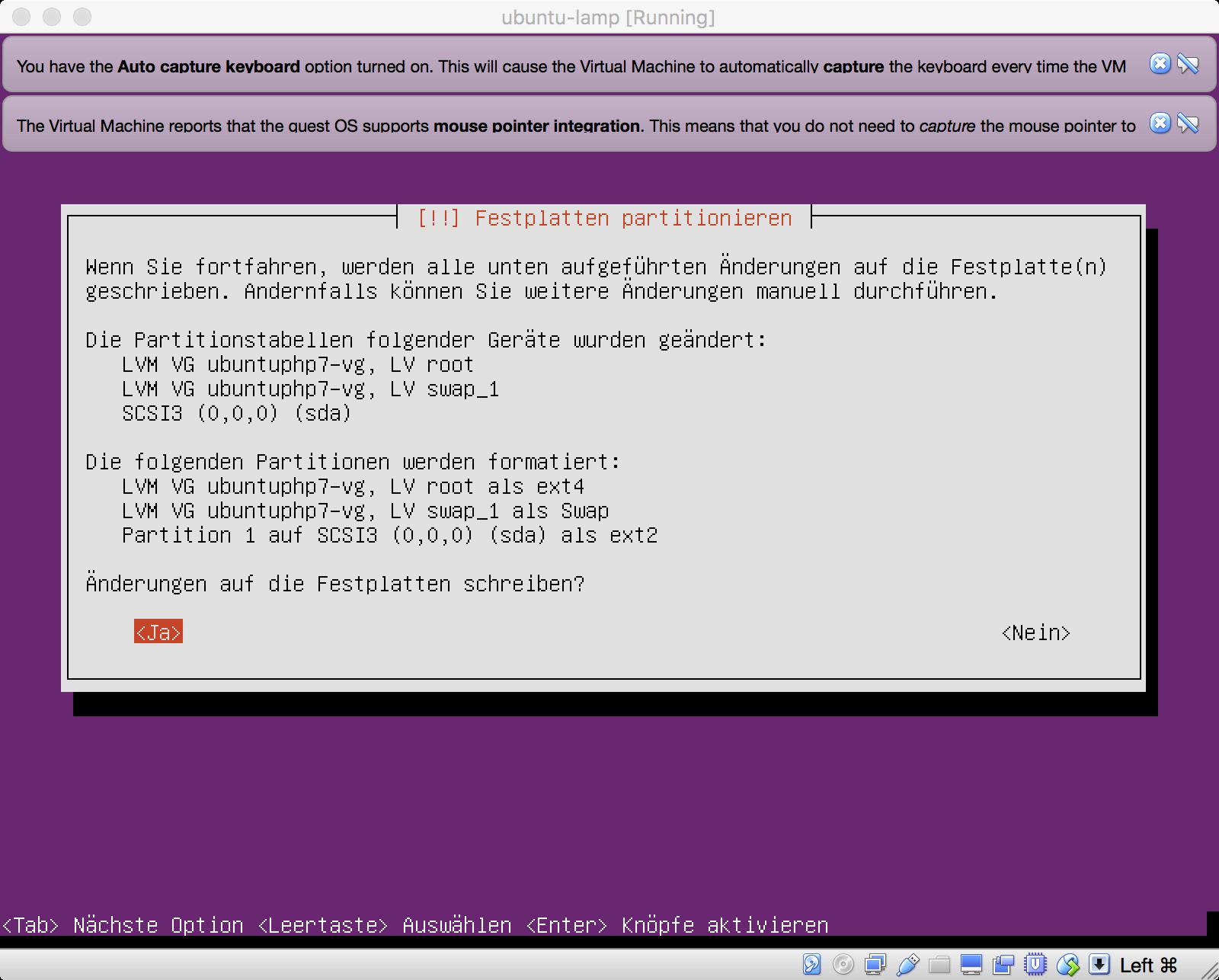 Ubuntu Installation - Zusammenfassung der Partitionierung