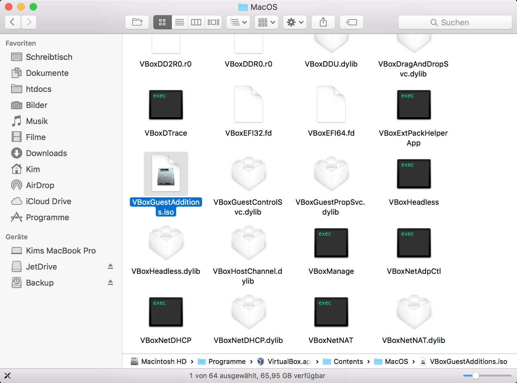 VBoxGuestAdditions.iso VirtualBox.app Paketinhalt