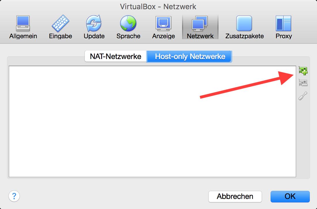 VirtualBox Host Only Netzwerk hinzufügen
