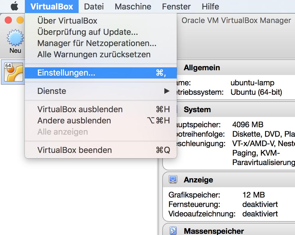 VirtualBox Hauptmenü - Einstellungen