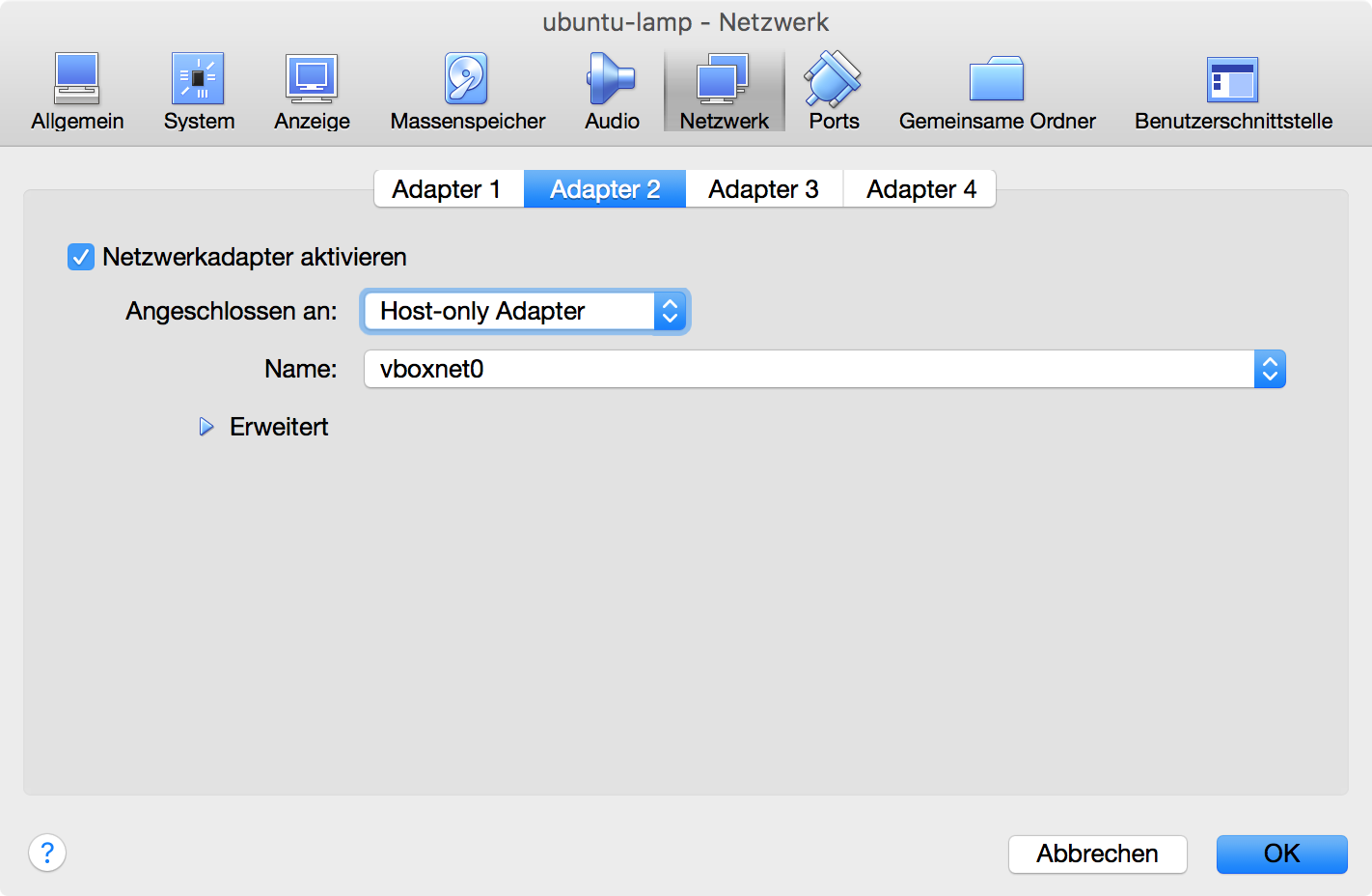 Host Only-Adapter als Adapter 2 einer VirtualBox VM